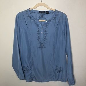 100% Silk Dug Egg Blue Blouse Size Medium